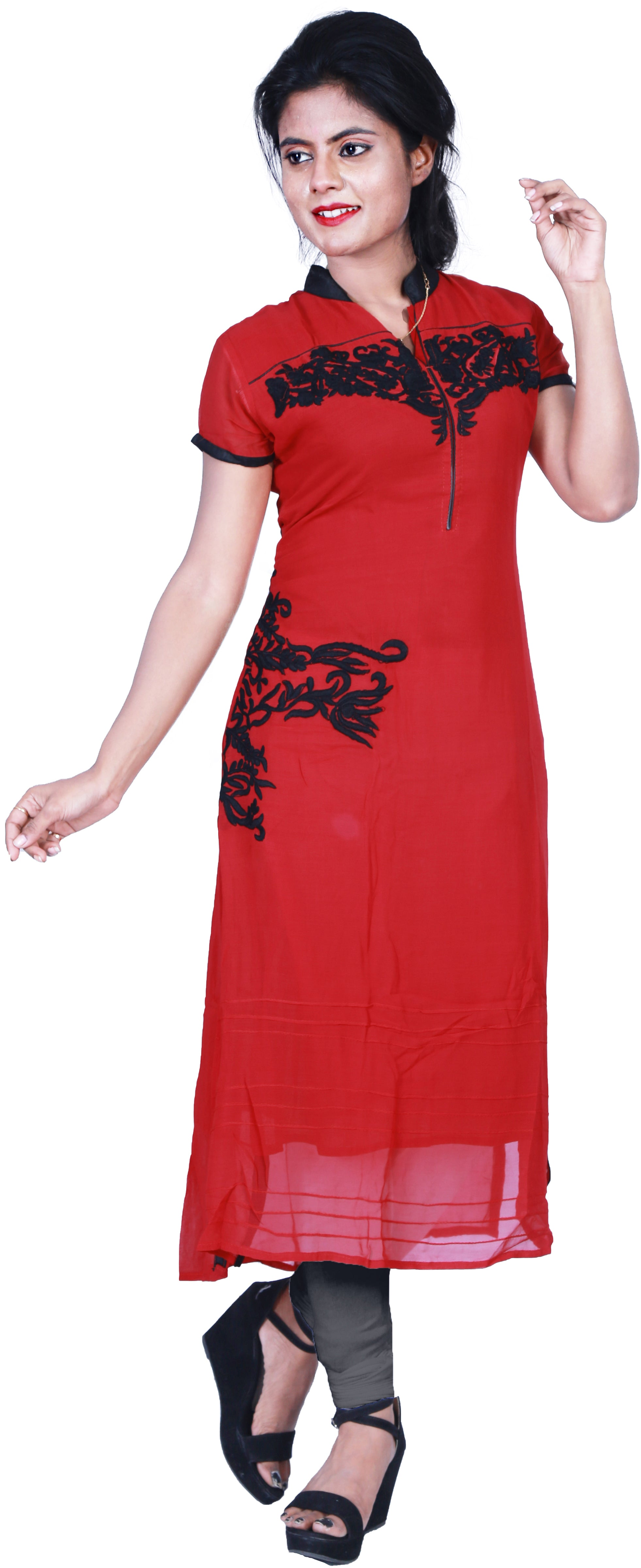 SMSAREE Red Designer Casual Partywear Georgette Viscos Thread Hand Embroidery Work Stylish Women Kurti Kurta With Free Matching Leggings GK929