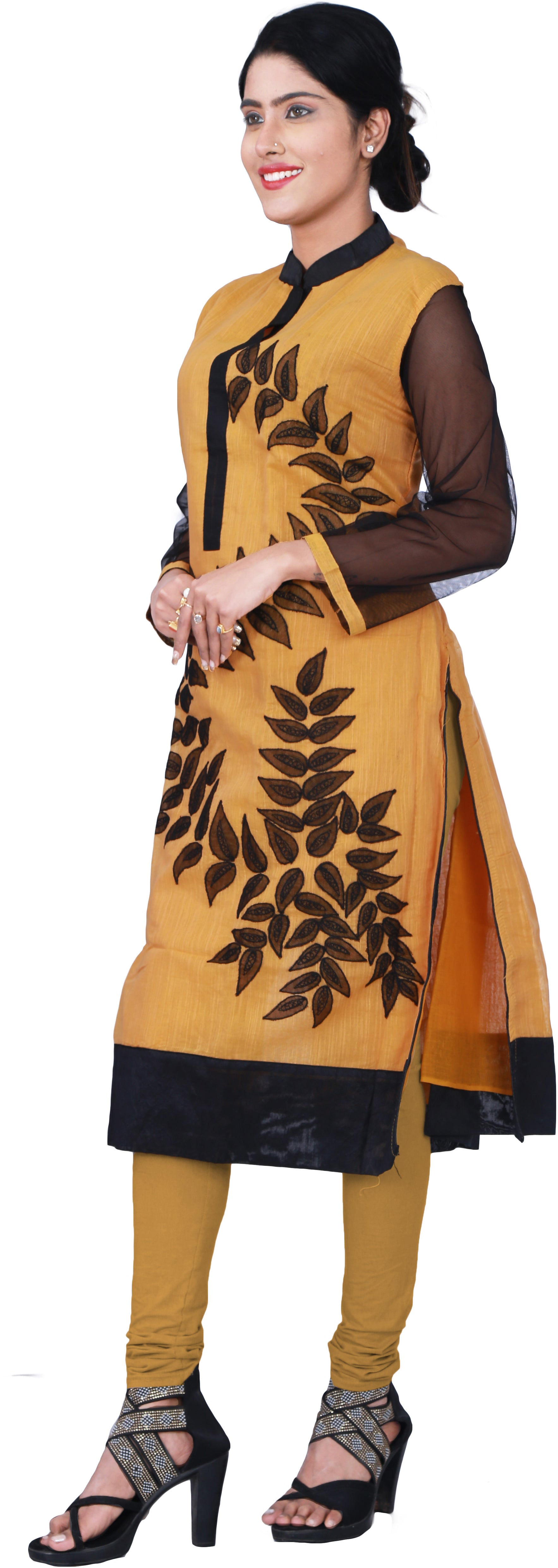 SMSAREE Yellow & Black Designer Casual Partywear Cotton (Chanderi) & Net Sleeves Thread Hand Embroidery Work Stylish Women Kurti Kurta With Free Matching Leggings GKB158