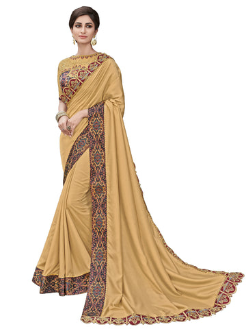 Golden Satin Silk Full Designer Saree Sari