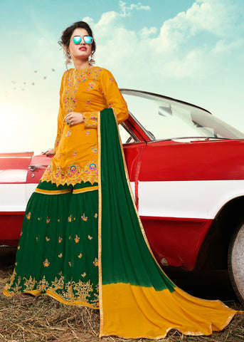 Green & Yellow Designer Ethnic Partywear Satin Sharara Suit With Georgette Dupatta Stone & Patch Border Work