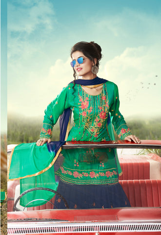 Green & Deep Blue Designer Ethnic Partywear Satin Sharara Suit With Georgette Dupatta Stone & Patch Border Work