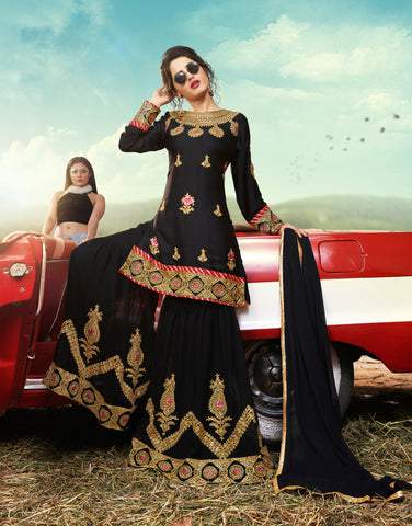 Black Designer Ethnic Partywear Satin Sharara Suit With Georgette Dupatta Stone & Patch Border Work