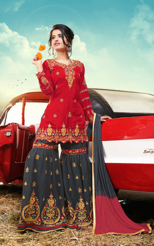 Red & Grey Designer Ethnic Partywear Satin Sharara Suit With Georgette Dupatta Stone & Patch Border Work