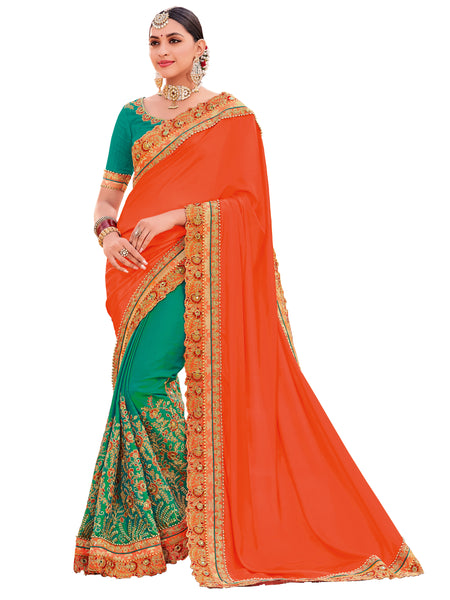 Orange & Green Two Tone Satin Georgette Heavy Designer Half-Half Saree Sari