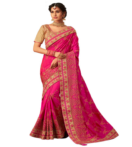 Pink Poly Silk Fancy Designer Saree Sari