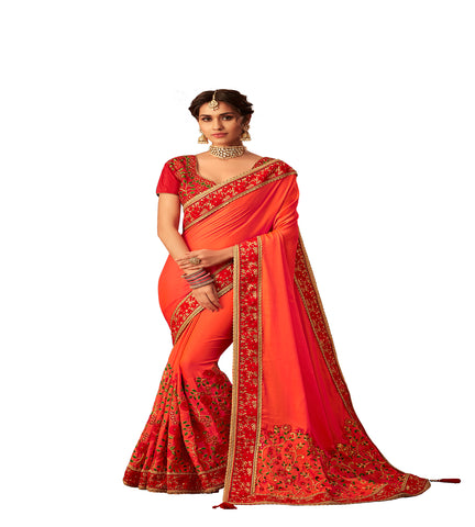Orange Poly Silk Fancy Designer Saree Sari