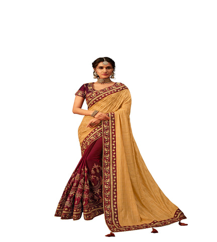 Yellow & Maroon Poly Silk Half-Half Fancy Designer Saree Sari