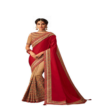 Red & Beige Poly Silk Half-Half Fancy Designer Saree Sari