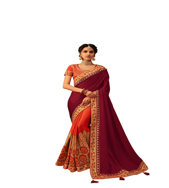Maroon & Orange Poly Silk Half-Half Fancy Designer Saree Sari