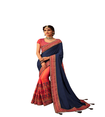Navy Blue & Peach Poly Silk Half-Half Fancy Designer Saree Sari