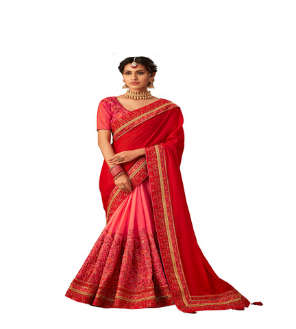 Red & Pink Poly Silk Half-Half Fancy Designer Saree Sari