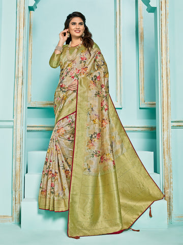 Green Jacquard Silk Heavy Work Saree Sari