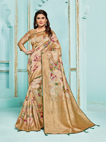 Gold Jacquard Silk Heavy Work Saree Sari
