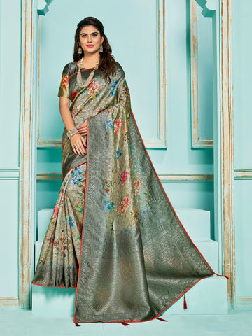 Grey Jacquard Silk Heavy Work Saree Sari