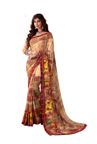 Brown Georgette Full Designer Saree Sari