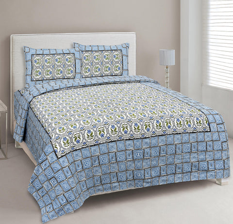 Sky Blue Ethnic Jaipuri Cotton Double Bed Printed Bedsheet