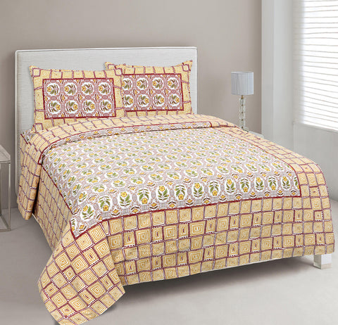 Yellow Ethnic Jaipuri Cotton Double Bed Printed Bedsheet