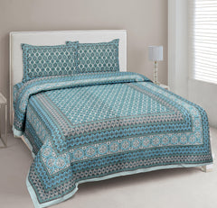 Turquoise Blue Pure Cotton Double Bed Ethnic Jaipuri Printed Bedsheet