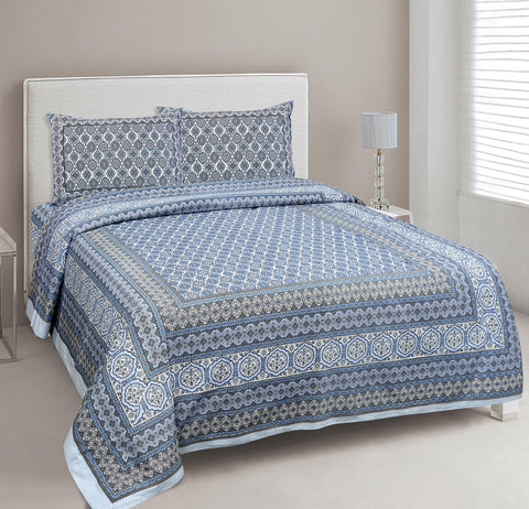 Blue Ethnic Jaipuri Cotton Double Bed Printed Bedsheet
