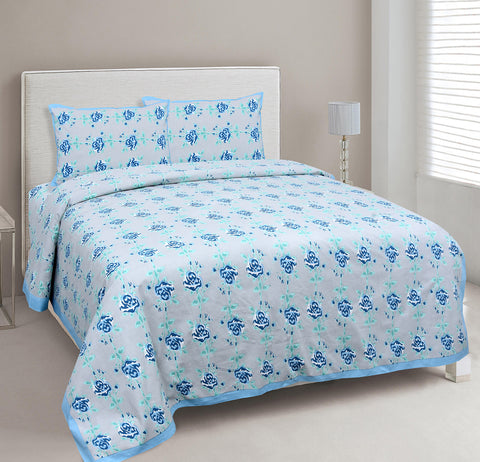 Baby Blue Ethnic Jaipuri Cotton Double Bed Printed Bedsheet