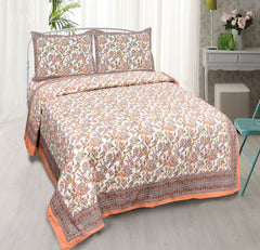 Multicolour Pure Cotton Double Bed Ethnic Jaipuri Printed Bedsheet