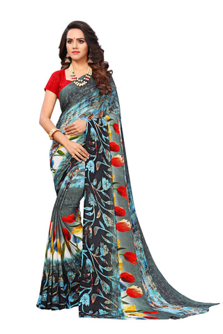 Multi Color Georgette Full Printed Designer Saree Sari
