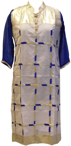 Blue White Designer Georgette & Cotton (Chanderi) Kurti