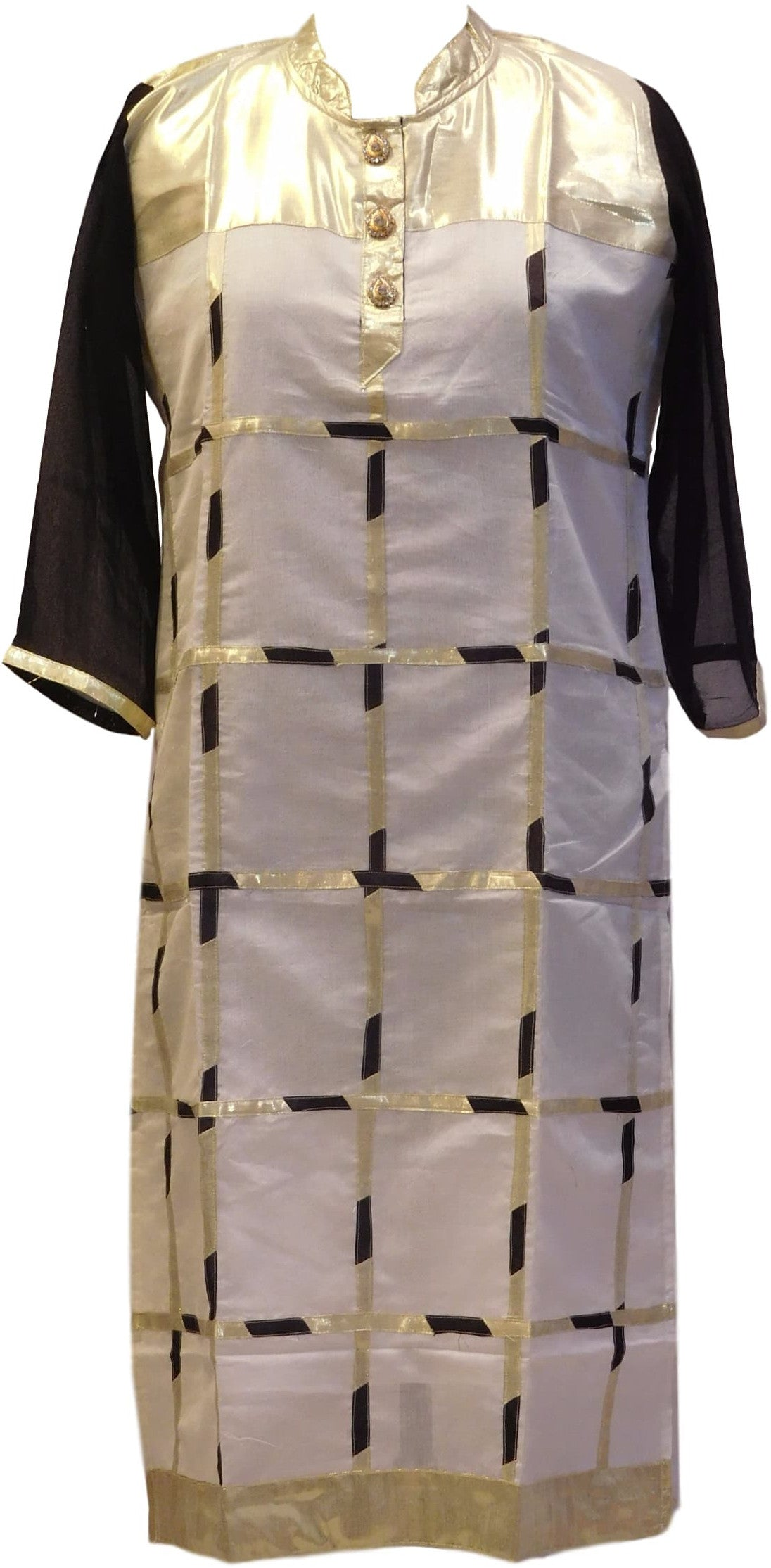 Black White Designer Georgette & Cotton (Chanderi) Kurti
