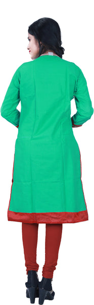 SMSAREE Green Designer Casual Partywear Cotton (Chanderi) Gota & Zari Hand Embroidery Work Stylish Women Kurti Kurta With Free Matching Leggings KB089