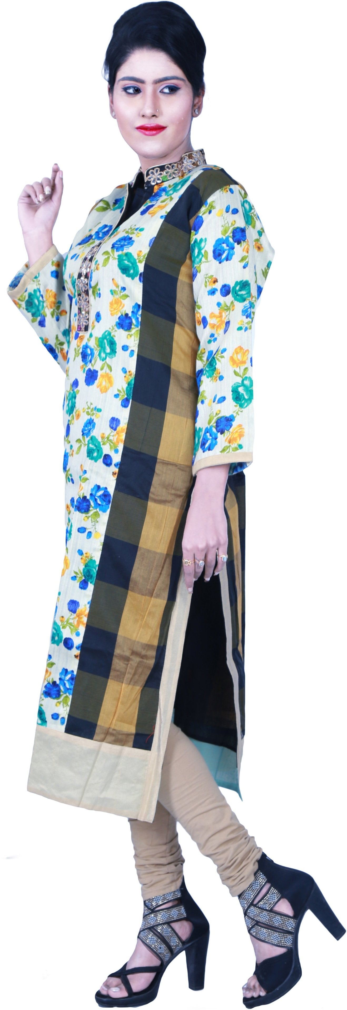 SMSAREE Multi-Colour Designer Casual Partywear Raw Silk Floral Printed Gota & Zari Hand Embroidery Work Stylish Women Kurti Kurta With Free Matching Leggings KB284