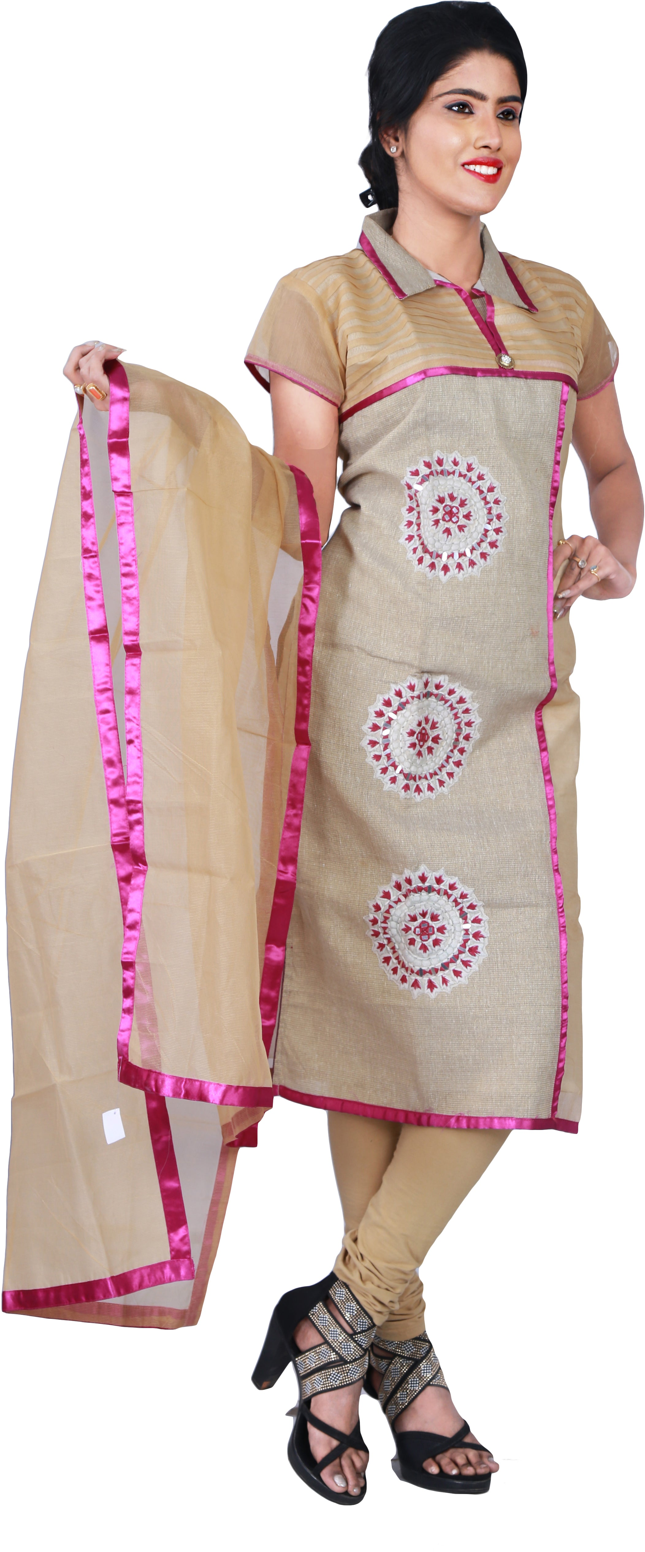 SMSAREE Beige Designer Casual Partywear Jute Thread & Mirror Hand Embroidery Work Stylish Women Kurti Kurta With Free Matching Leggings KB298