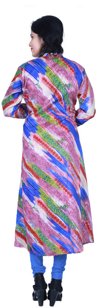 SMSAREE Multi-Colour Designer Casual Partywear Raw Silk Floral Printed Gota Thread & Zari Hand Embroidery Work Stylish Women Kurti Kurta With Free Matching Leggings KB357