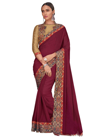 Burgundy Georgette Fancy Designer Saree Sari