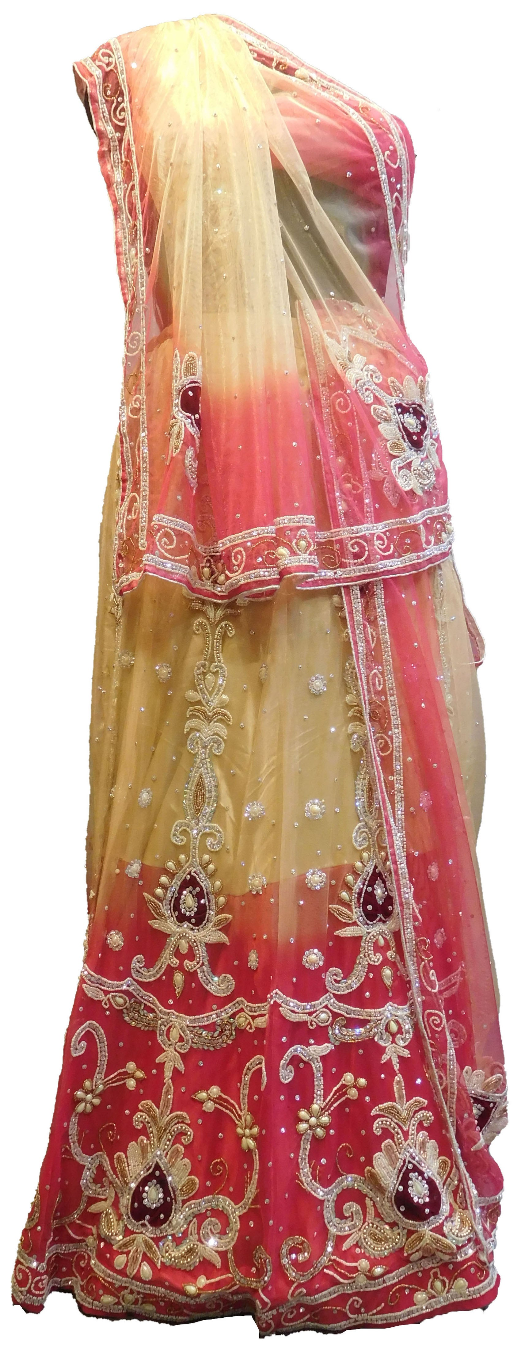 SMSAREE Pink & Cream Designer Wedding Partywear Net Stone Beads Cutdana & Pearl Hand Embroidery Work Bridal Lahenga Choli Dupatta SemiStitched LAE622