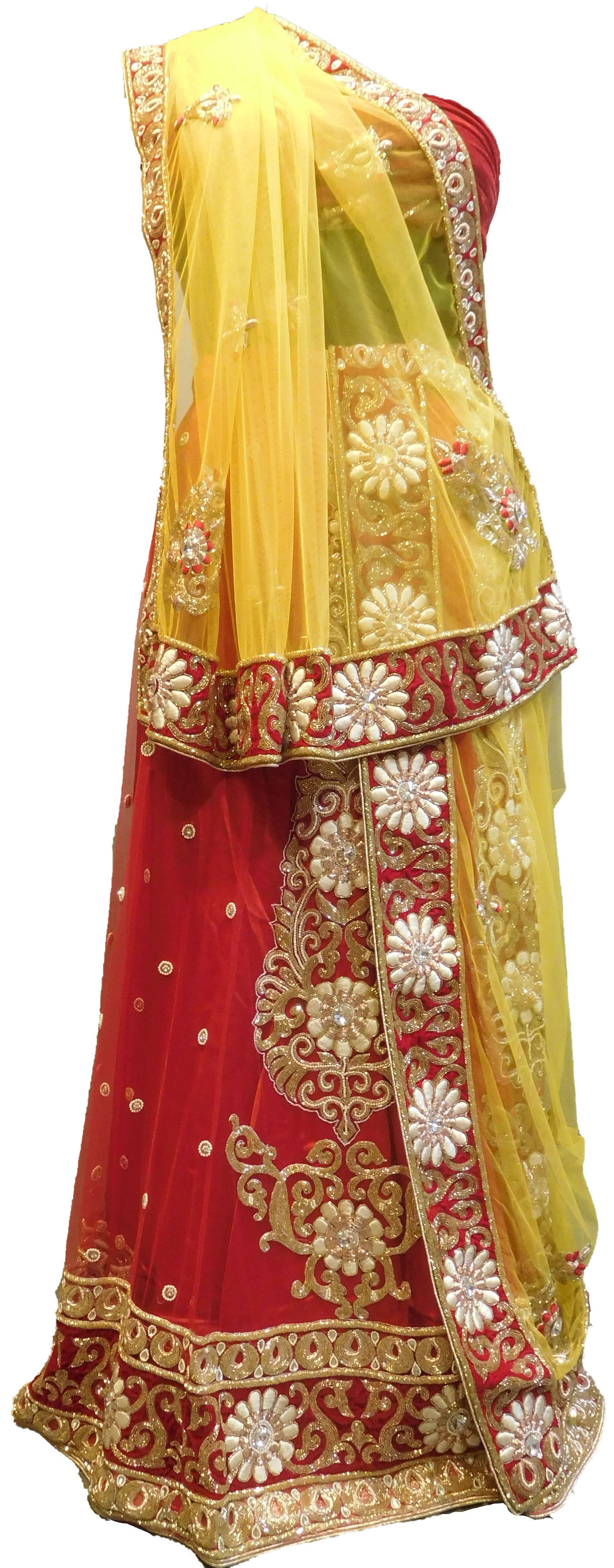 SMSAREE Yellow & Red Designer Wedding Partywear Net Stone Beads Cutdana Thread Bullion & Pearl Hand Embroidery Work Bridal Lahenga Choli Dupatta SemiStitched LAE625