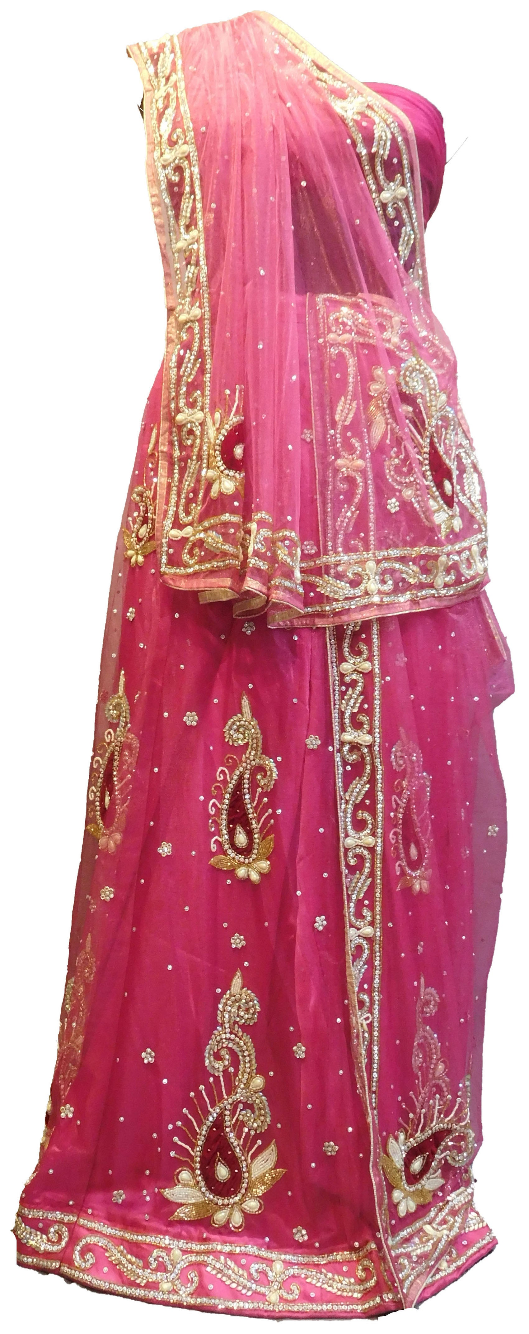 SMSAREE Pink Designer Wedding Partywear Net Stone Beads Cutdana & Pearl Hand Embroidery Work Bridal Lahenga Choli Dupatta SemiStitched LAE626