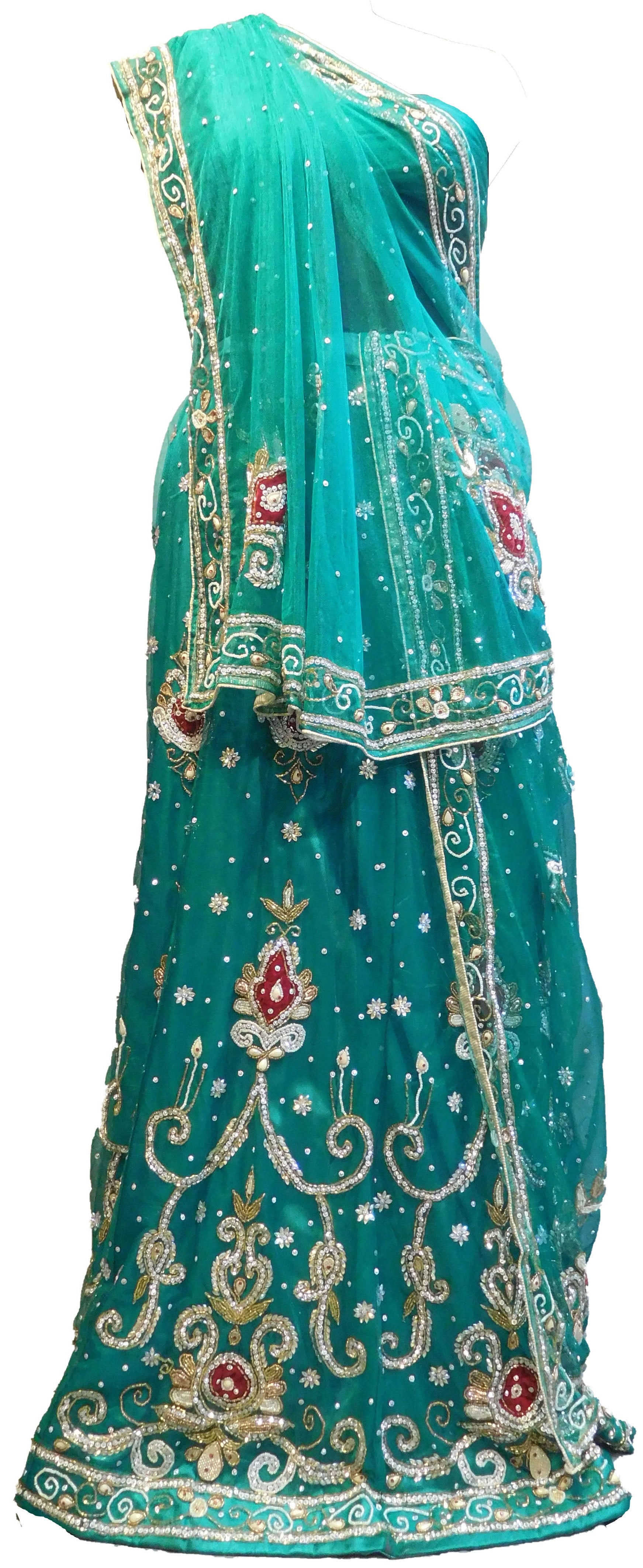 SMSAREE Turquoise Designer Wedding Partywear Net Stone Beads Cutdana & Pearl Hand Embroidery Work Bridal Lahenga Choli Dupatta SemiStitched LAE627