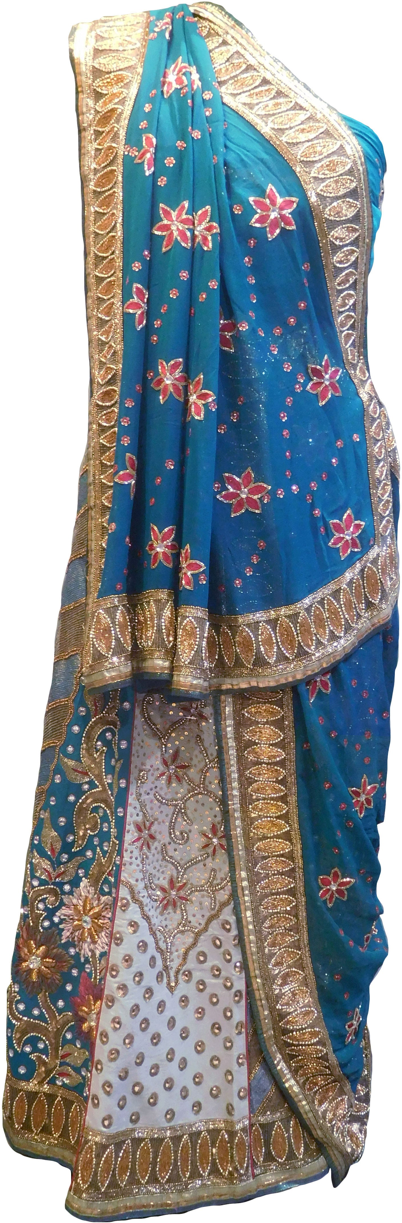 SMSAREE Turquoise & Cream Designer Wedding Partywear Pure Georgette Cutdana Zari Thread Beads Bullion & Stone Hand Embroidery Work Bridal Lahenga Dupatta Ghaghra Choli Bari Ki Til With Blouse Piece LAC547