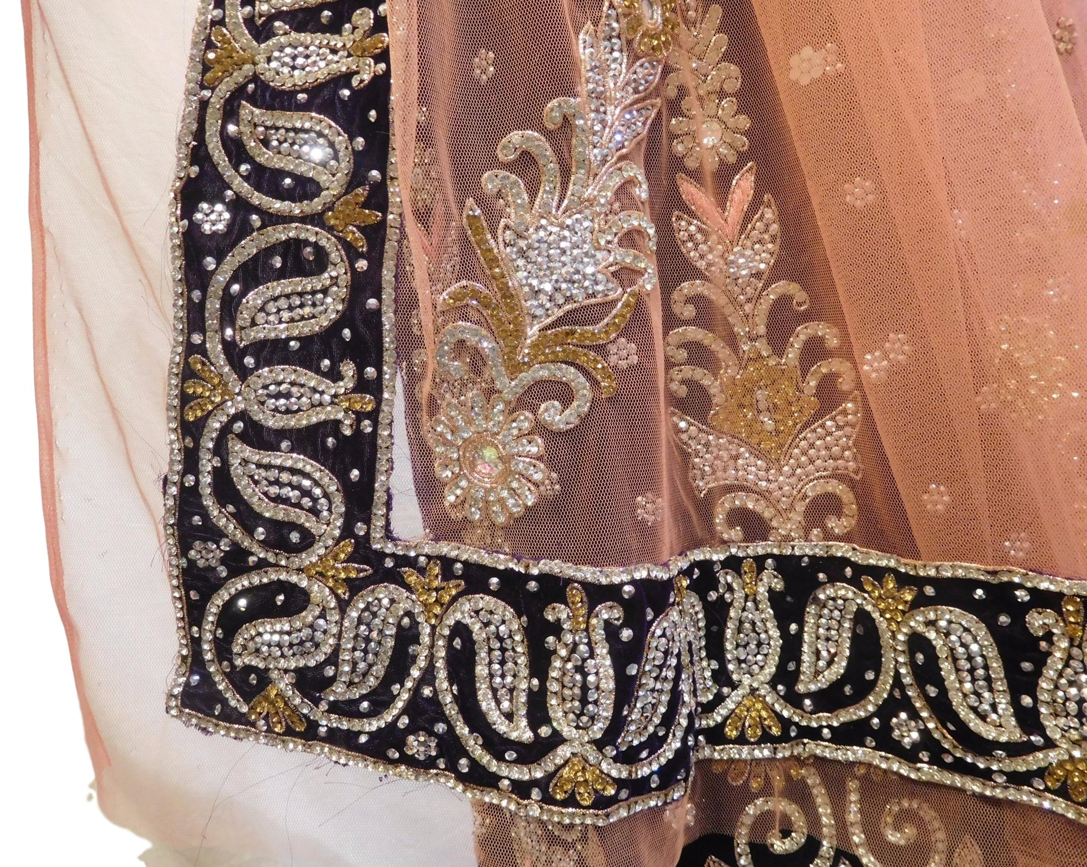 The Show Stopper Peach & Purple Designer Bridal Hand Embroidery Thread Bullion Pearl Zari Cutdana Work Wedding Velvet Lahenga With Net Dupatta & Plain (No Embroidery) Velvet Blouse