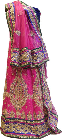 The Show Stopper Pink & Blue Designer Bridal Hand Embroidery Bullion Thread Stone Cutdana Work Pure Raw Silk Lahenga With Net Dupatta & Velvet Blouse