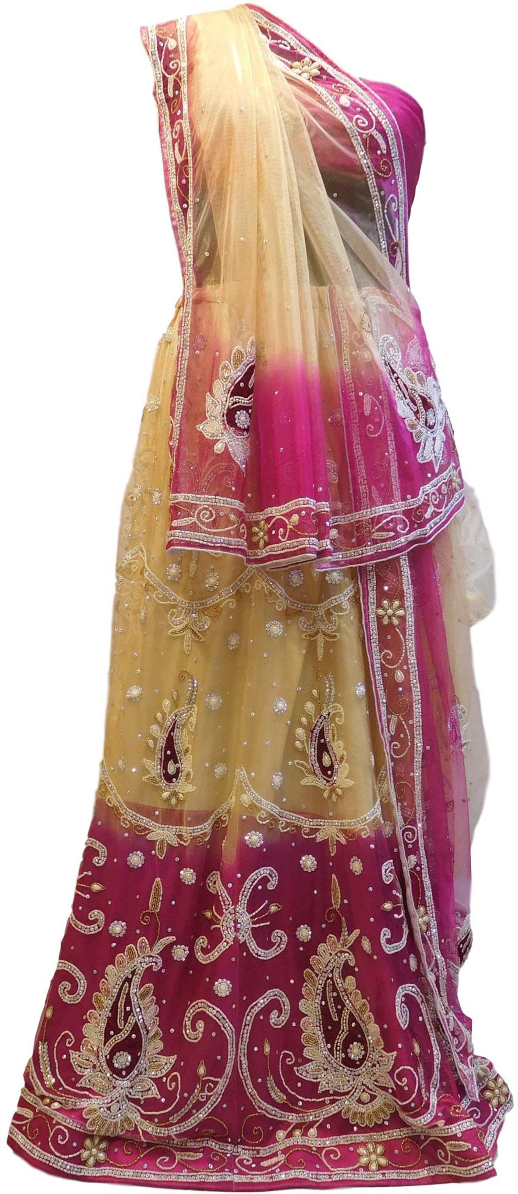 Cream & Pink Designer Wedding Partywear Net Bullion Beads Stone Pearl Hand Embroidery Work Bridal Lahenga Choli Dupatta Semistitched LAE119