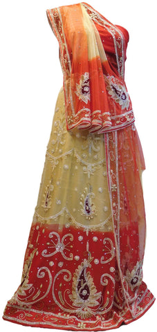 Cream & Red Designer Wedding Partywear Net Bullion Beads Stone Pearl Hand Embroidery Work Bridal Lahenga Choli Dupatta Semistitched LAE120