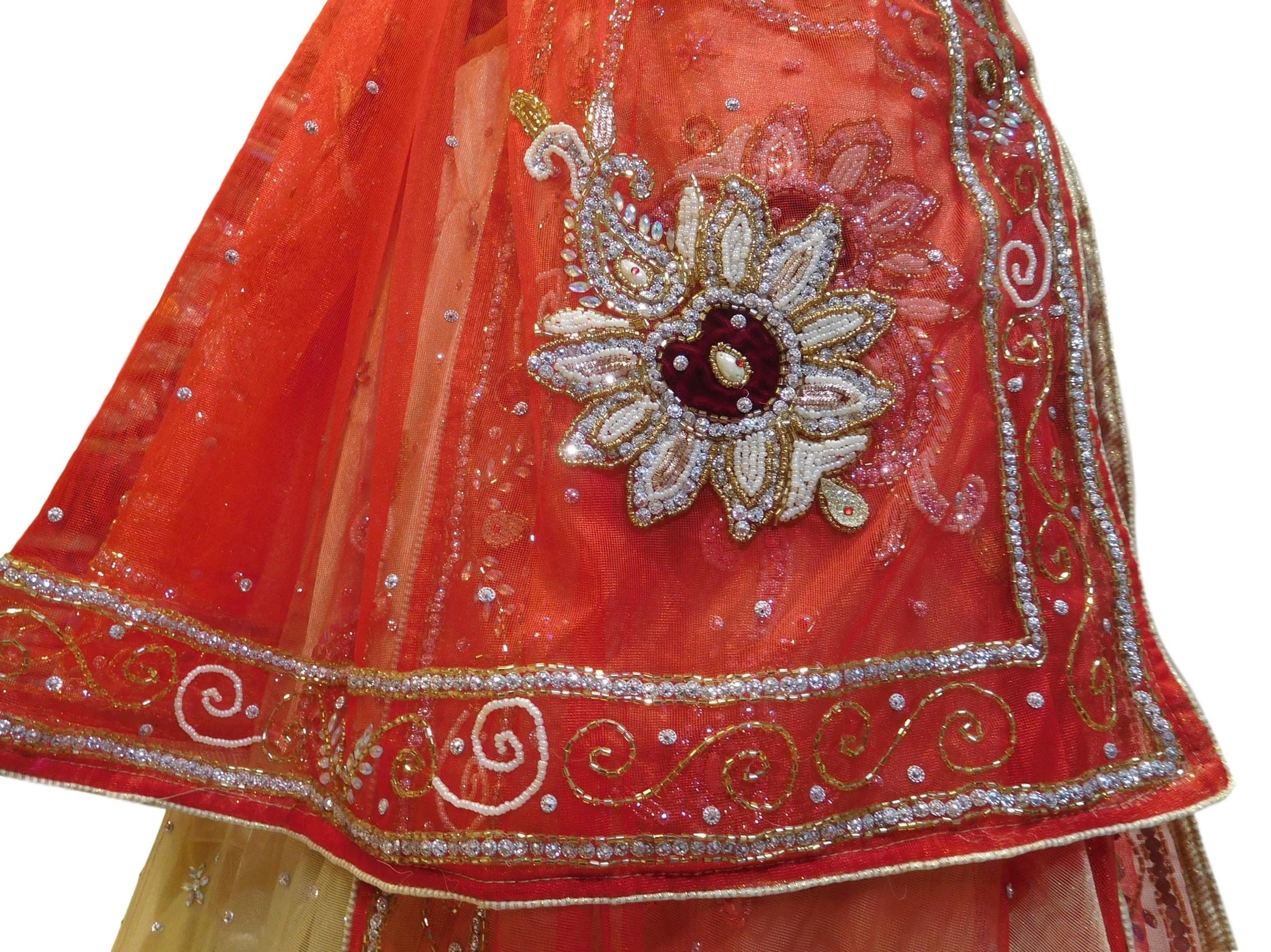 Cream & Red Designer Wedding Partywear Net Bullion Beads Stone Pearl Hand Embroidery Work Bridal Lahenga Choli Dupatta Semistitched LAE121