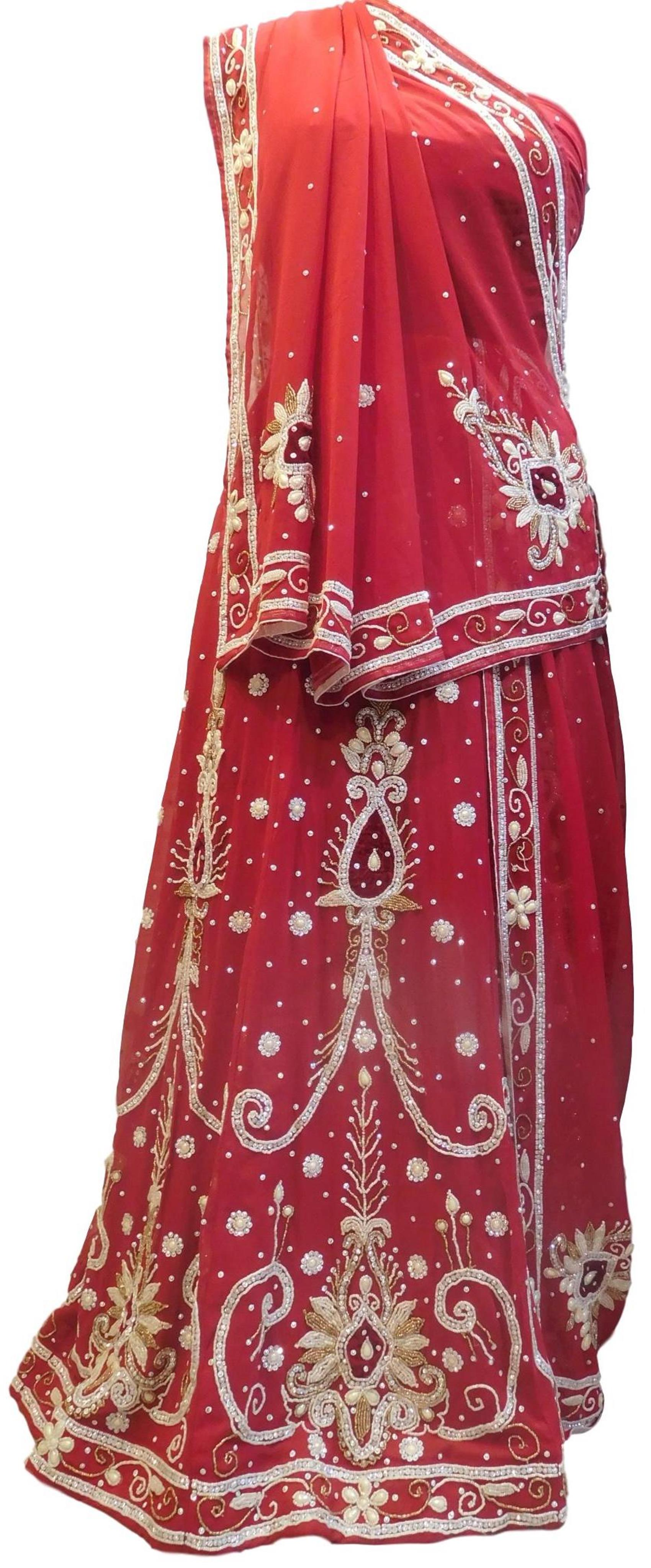 Red Designer Wedding Partywear Georgette Bullion Beads Stone Pearl Hand Embroidery Work Bridal Lahenga Choli Dupatta Semistitched LAE251