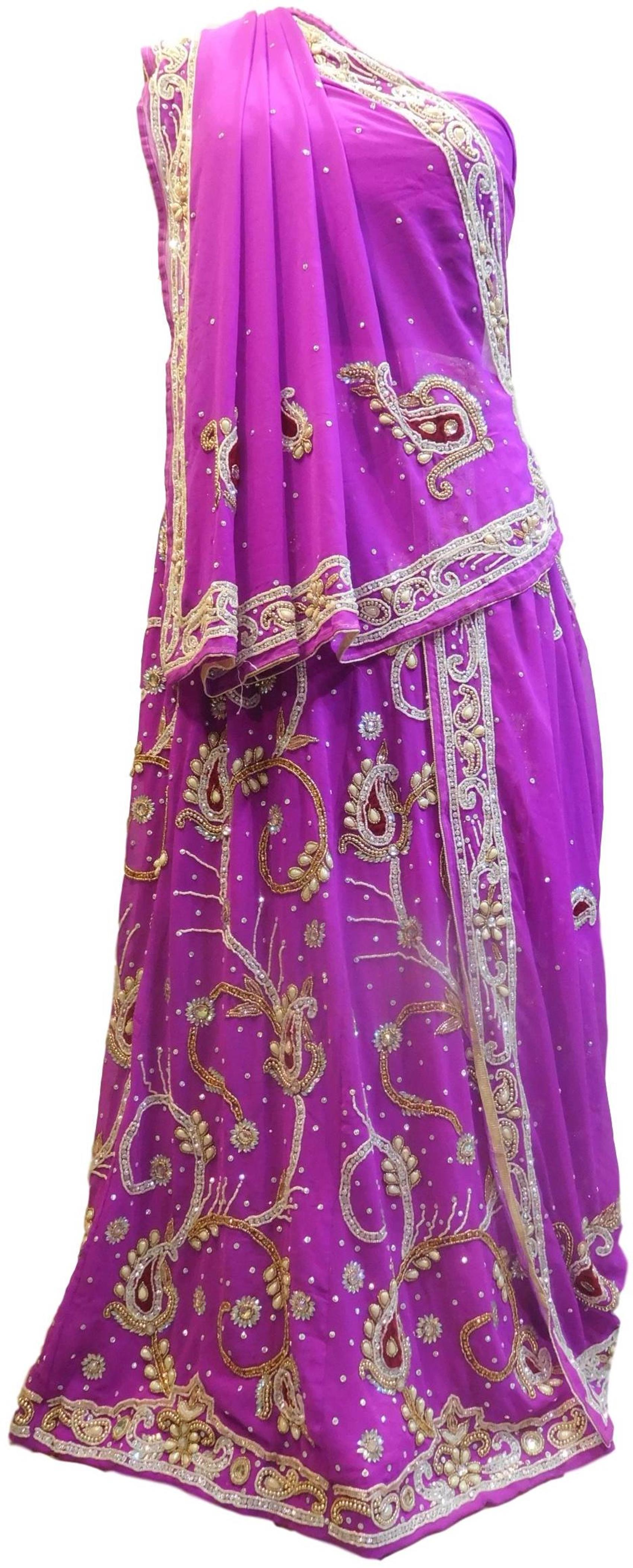 Violet Designer Wedding Partywear Georgette Bullion Beads Stone Pearl Hand Embroidery Work Bridal Lahenga Choli Dupatta Semistitched LAE252