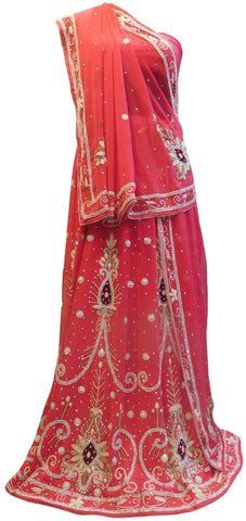 Pink Designer Wedding Partywear Georgette Bullion Beads Stone Pearl Hand Embroidery Work Bridal Lahenga Choli Dupatta Semistitched LAE255