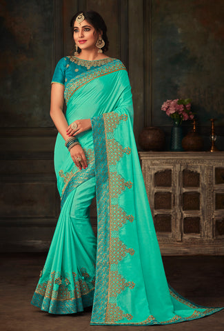 Blue Poly Silk Heavy Work Saree Sari
