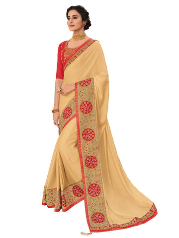 Gold Bright Georgette Full Designer Saree Sari