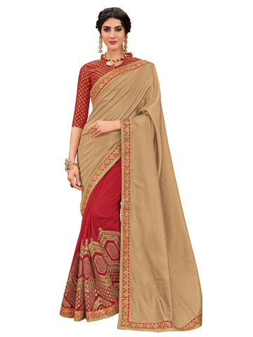Gold & Red Silk Fabrics Full Designer Saree Sari