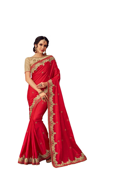 Red Poly Silk Heavy Designer Saree Sari